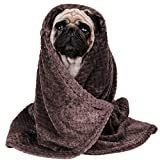 Soft Dog Blanket | Pet Throw Blanket for Puppy, Small Dog, Medium Dog or Cat Kitten | Reversible, Soft, Lightweight Microfiber Throw (Brown)