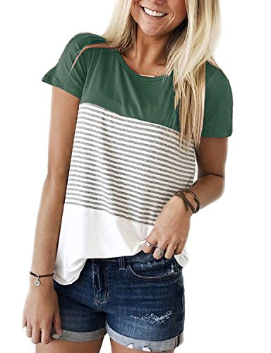 Glomeen Women's Casual Tops Summer Round Neck Striped Short Sleeve Blouse T-Shirt Tops