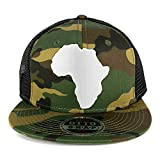 Solid White African Map Embroidered Patch Camo Flat Bill Snapback Mesh Cap - BLACK