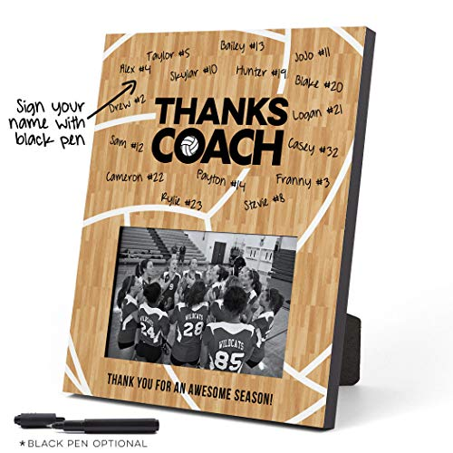 ChalkTalkSPORTS Personalized Volleyball Photo Frame | Coach (Autograph) Picture Frame | Wood