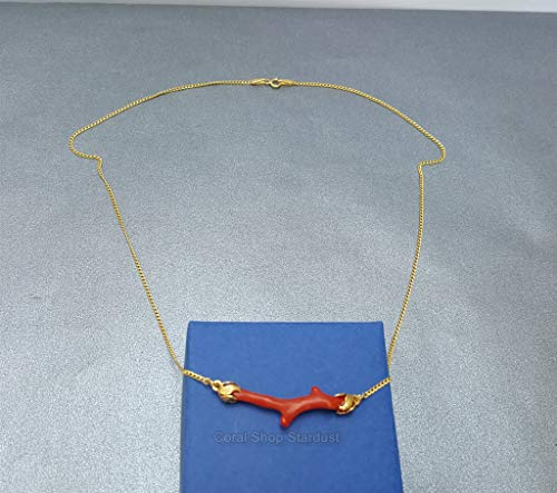 - Unique Red Coral Branch Necklace, Solid 14k Gold Chain Minimalist Necklace, Untreated Mediterranean Coral *Exp Shipping