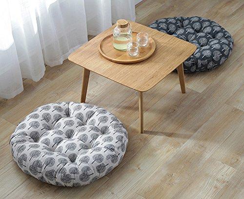TMJJ Cotton & Linen Round Floor Pillow Cushion Japanese Style Futon Seat Cushion Thicken Chair Wave Window Pad 21'' x 21'',Set of 2 (Dark Happy Tree) by TMJJ Home (Image #4)