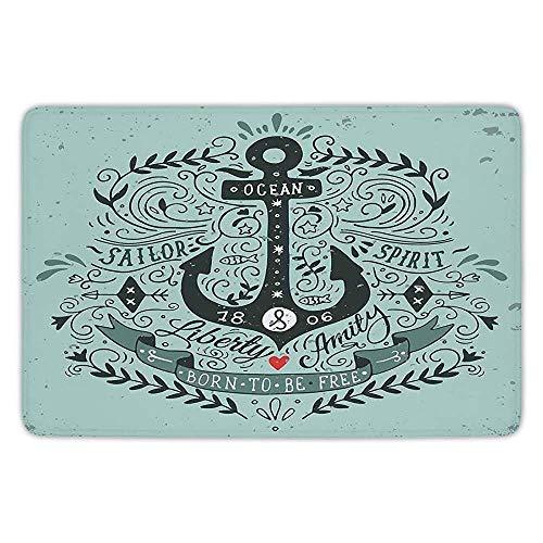Bathroom Bath Rug Kitchen Floor Mat Carpet,Navy,Vintage Style Anchor Lettering Quotes and Floral Sailor Marine Design Artwork Print Decorative,Turquoise,Flannel Microfiber Non-Slip Soft Absorbent
