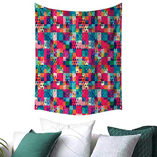 Anshesix Geometric Tapestry for Living Room Fashion Themed Italian Grunge Modern Color Contrast Squares with Dots Artwork Picnic/Beach Blanket/Throw/Sheet 70W x 84L INCH Multicolor