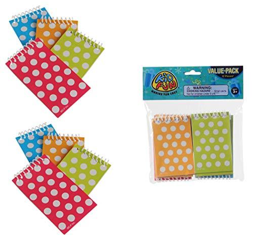 Just4fun 2 Dozen (24) Colorful Polka DOT Mini Spiral NOTEBOOKS Party Favors Classroom Teacher -