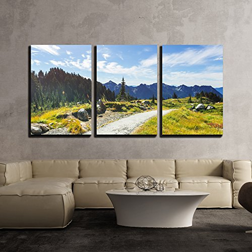 wall26 - 3 Piece Canvas Wall Art - Picturesque Mountain Landscape on Sunny Day in Summer Time - Modern Home Decor Stretched and Framed Ready to Hang - 16