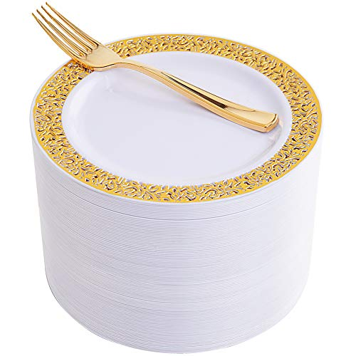 """WDF 100pcs Gold Dessert Plates 7.5"""" with 100 Pieces Disposable Forks 7.4"""", Lace Design Wedding Party Plastic Plates, Fancy Salad Plates and Appetizer Plates for all Holidays & Occasions (Gold)"""