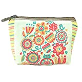 KARRESLY Women's Canvas Change Vintage Card Case Mini Wallet Coin Purse Bag Gift with Zip and Liner(Flowers)