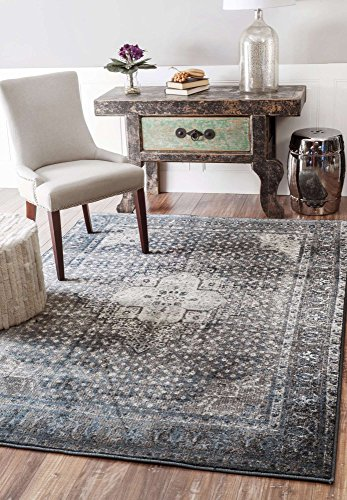 - Vintage Rug Traditional Area Rugs Fashion Design Persian Look Long Runner Oriental Area Carpet Blue Grey Home Mats (2' 8