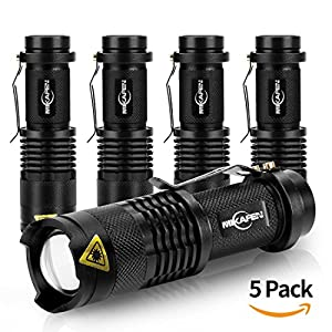 Mikafen 5 Pack Mini Cree Q5 LED Flashlight Torch 7w 300lm Adjustable Focus Zoomable Light from MIKAFEN