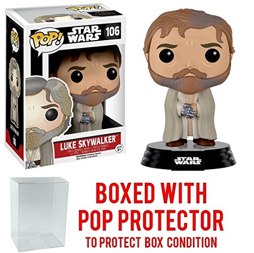 Funko Pop! Star Wars: The Force Awakens - Bearded Luke Skywalker #106 Vinyl Figure (Bundled with Pop BOX PROTECTOR CASE)