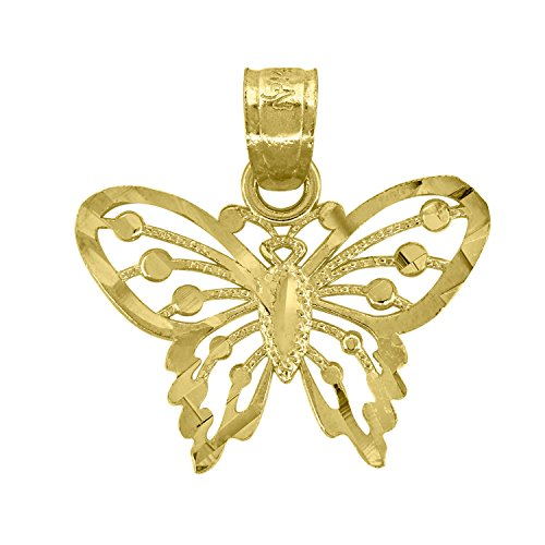 14kt Gold Womens Diamond Cut Butterfly Insect Height 16.2mm Pendant Charm