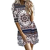 Spbamboo Clearance Sale! Womens Printing O-Neck Short Sleeve Easy Mini Dress