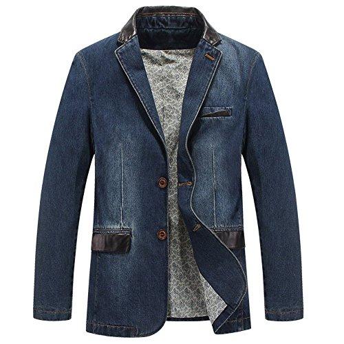 Men's 2 Buttons Denim Blazer Lapel Washed Denim Suit Jacket (Large, Light Blue)