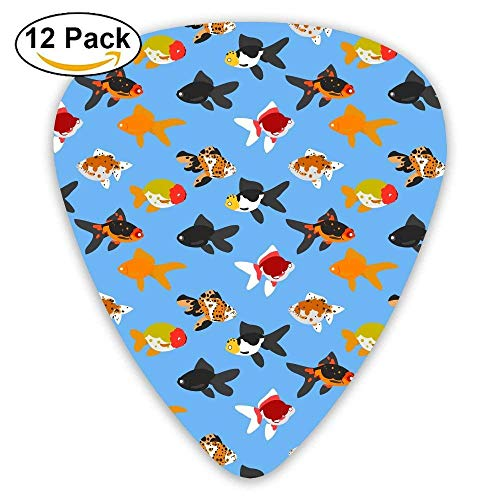 Thin Personalized Goldfish Fish Animal Celluloid Guitar Picks Unisex 12 Packs -