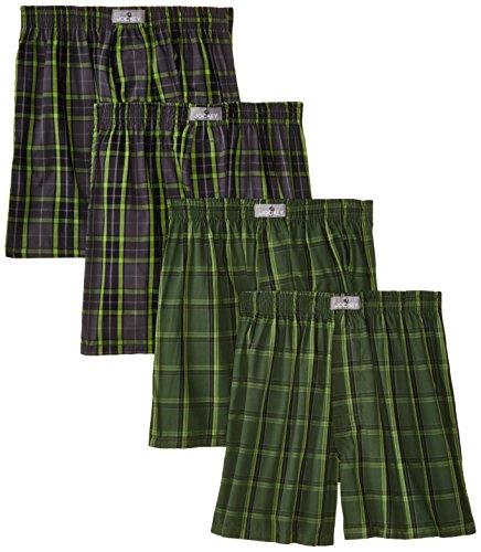 Jockey Big Boys' Plaid 4 Pack Blended Boxer, Grey/Green, (Green Tartan Boxer)