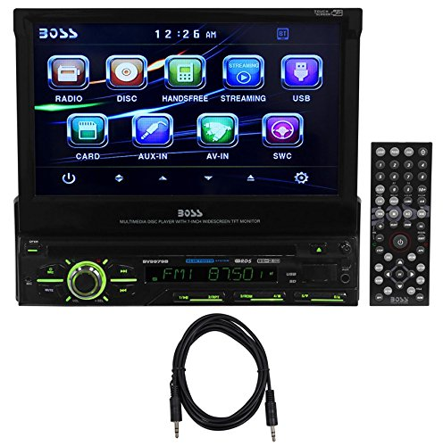 "Package: Boss BV9979B 7"" In-Dash Single Din Car DVD Receiver with Bluetooth, USB, SD, and Remote Control + Trisonic 6 Foot 3.5"" P-Text 24/48 Aux Input Wire"