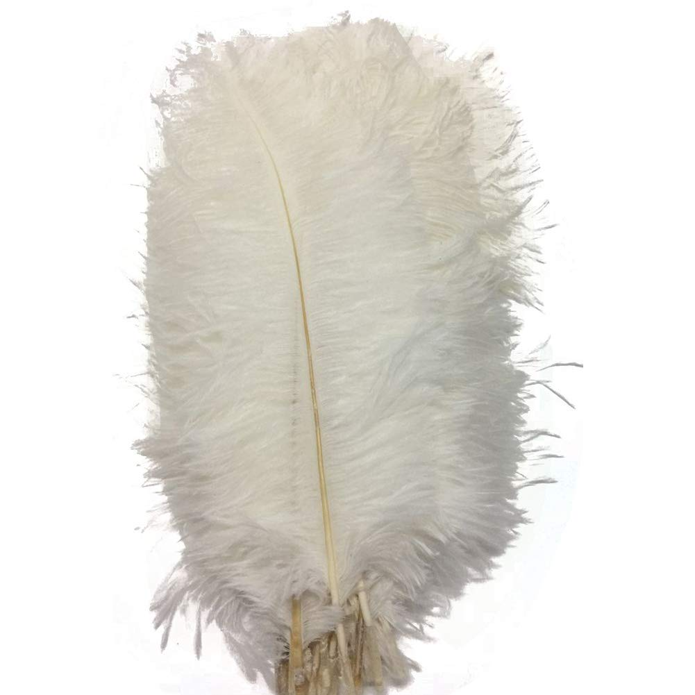 CENFRY 100pcs Ostrich Feathers 16-18inch Plumes for Wedding Centerpieces Home Decoration (White)