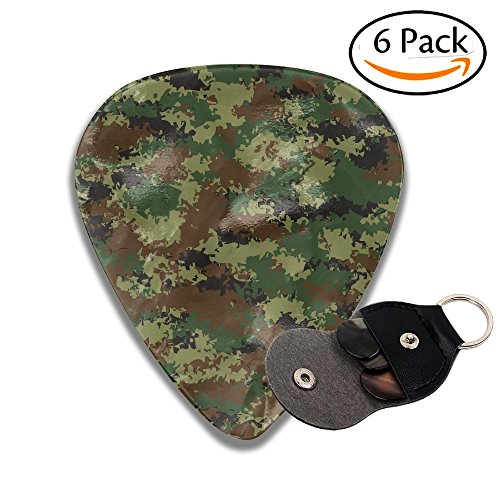 Wxf Camouflage Summer Theme Armed Forces Uniform Inspired Dark Green Pale Green Brown Colorful Celluloid Guitar Picks Plectrums For Guitar Bass .46mm 6 Pack