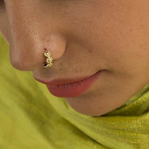 Unique Indian Flowers Nose Ring, 18k Gold Plated Hoop Piercing, Tribal Style, Fits Cartilage, Helix, Rook, Nipple, Tragus Earring, 20g, Handmade -