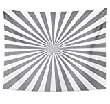 Emvency Tapestry Polyester Fabric Print Home Decor Silver Sun Gray with Rays Line Starburst Sunburst Burst Beam Shiny Solar Wall Hanging Tapestry for Living Room Bedroom Dorm 60x80 inches