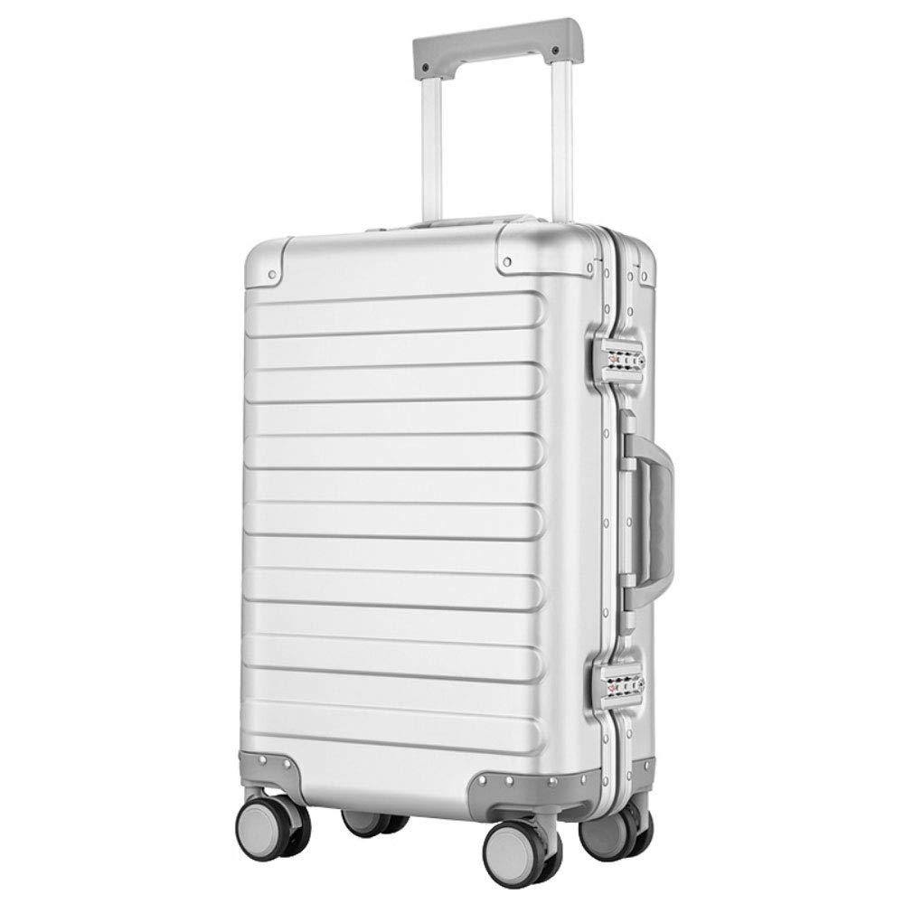 トロリーボックスユニバーサルホイールアルミフレーム旅行荷物20インチビジネス搭乗パスワードスーツケース (Color : 白, Size : 20 inch)   B07QXJYVXM