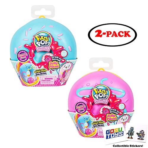 Pikmi Pops DoughMis Series Surprise Pack - Medium Scented Donut Plush Toy (2 Pack Assorted) with 2 GosuToys Stickers ()
