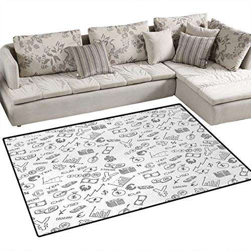 - Money,Carpet,Monochrome Pattern with Euro Dollar Yen Symbols Coins Piggy Bank Stock Graphs Doodle,Rug Kid Carpet,Black White,36