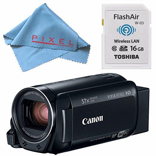Canon 32GB VIXIA HF R82 HFR82 Camcorder 1958C002 + Toshiba Flash Air III Wireless SD Memory Card 16GB + Fibercloth Bundle