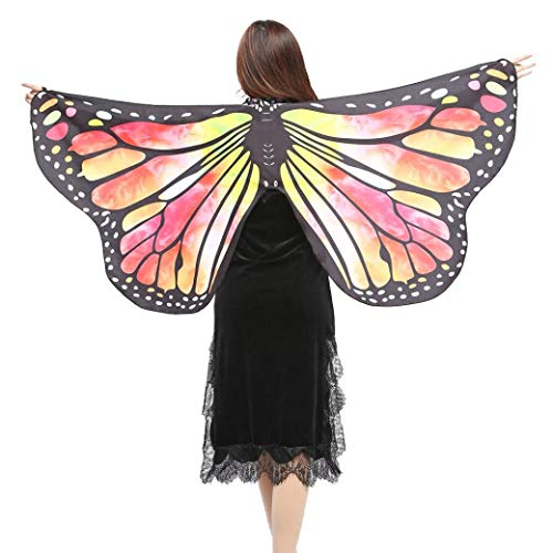 iDWZA Women Girl Butterfly Wings Shawl Scarves Pixie Cosplay Costume Accessory(14770cm,Yellow )