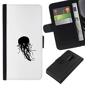 LECELL--Cuero de la tarjeta la carpeta del tirón Smartphone Slots Protección Holder For LG G2 D800 -- Jelly Fish B & W --