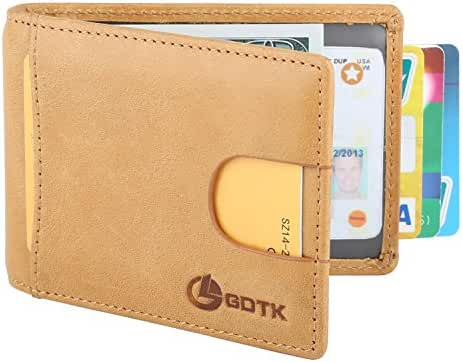 GDTK RFID Blocking Leather Slim Minimalist Wallet Front Pocket Money Clip