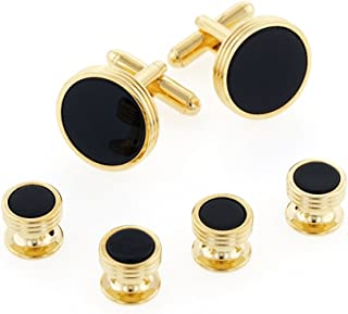 product image for JJ Weston Onyx Tuxedo Cufflinks and Shirt Studs. Made in The USA.
