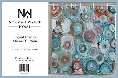"Norman Wyatt Home Liquid Geodes Print Polyester Fabric 72""x72"" Bathroom Shower Curtain with Hooks - 100% Polyester LIQUID GEODES COLORFUL SET- this exclusive print and high quality shower curtain is sure to impress. The unique and classic, art-inspired shower curtain is designed in the USA and digitally printed in our manufacturing facility to create clean and vibrant images that will beautify your bathroom ODOR FREE-We use only premium polyester when manufacturing our high quality shower curtains. They are machine washable and 100% Mildew Resistant. - shower-curtains, bathroom-linens, bathroom - 51tXDQC0d7L -"