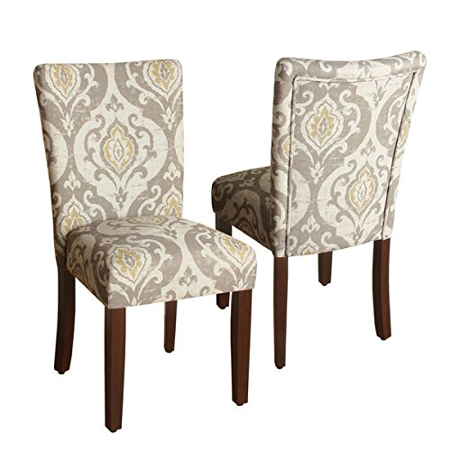 HomePop Modern Neutral Color Pallette Parson Upholstered Dining Chair, Set of 2 (Ikat Chairs Upholstered)