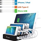 Charging Station for Multiple Devices - 6-Port USB Dock & Organizer for Smartphones & Tablets with Quick Charge for USB-C Powered Gadgets (Cables Included) - Black