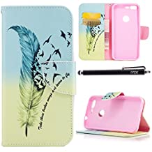 Google Pixel Case, iYCK Premium PU Leather Flip Folio Carrying Magnetic Closure Protective Shell Wallet Case Cover for Google Pixel 5inch Screen (2016) with Kickstand Stand - Feather Bird