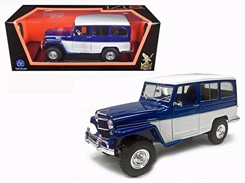 NEW 1:18 ROAD SIGNATURE SCOLLECTION - BLUE/WHITE 1955 WILLYS JEEP STATION WAGON Diecast Model Car By Road Signature (Signature Model Cars)