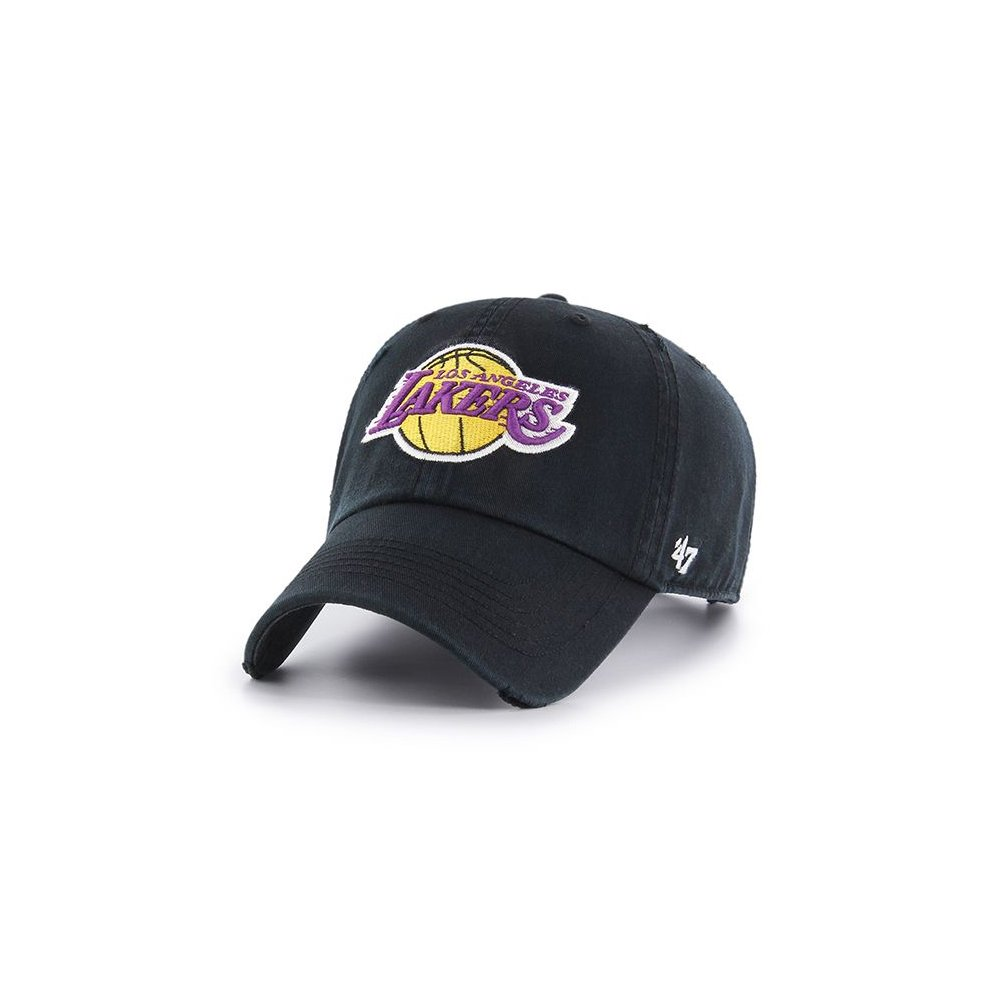 9b55218b8e617 Amazon.com  Los Angeles Lakers 47 Brand Edge Clean Up Distressed Slouch Fit  Hat  Clothing