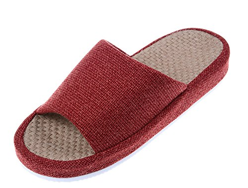 Bronze Times (TM) Unisex Cozy Tatami Indoor Cotton Flax House Slippers (Red),9M US