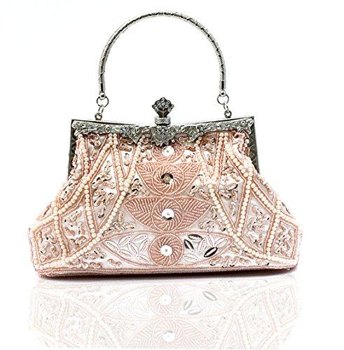 Whoinshop, borsa da donna con motivo di foglie con perline, borsetta nozze, sera Oro (Champagne)