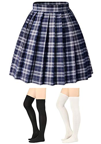 Elibelle Women's Adjustable Waist Tartan Pleated School Skirt with 2 Pairs Socks(Asia 2XL)(05Checks) -