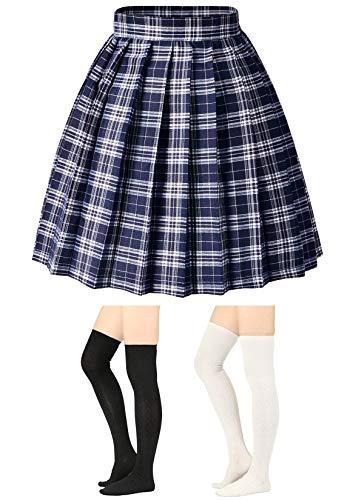 (Elibelle Women's Adjustable Waist Tartan Pleated School Skirt with 2 Pairs Socks(Asia M)(05Checks))