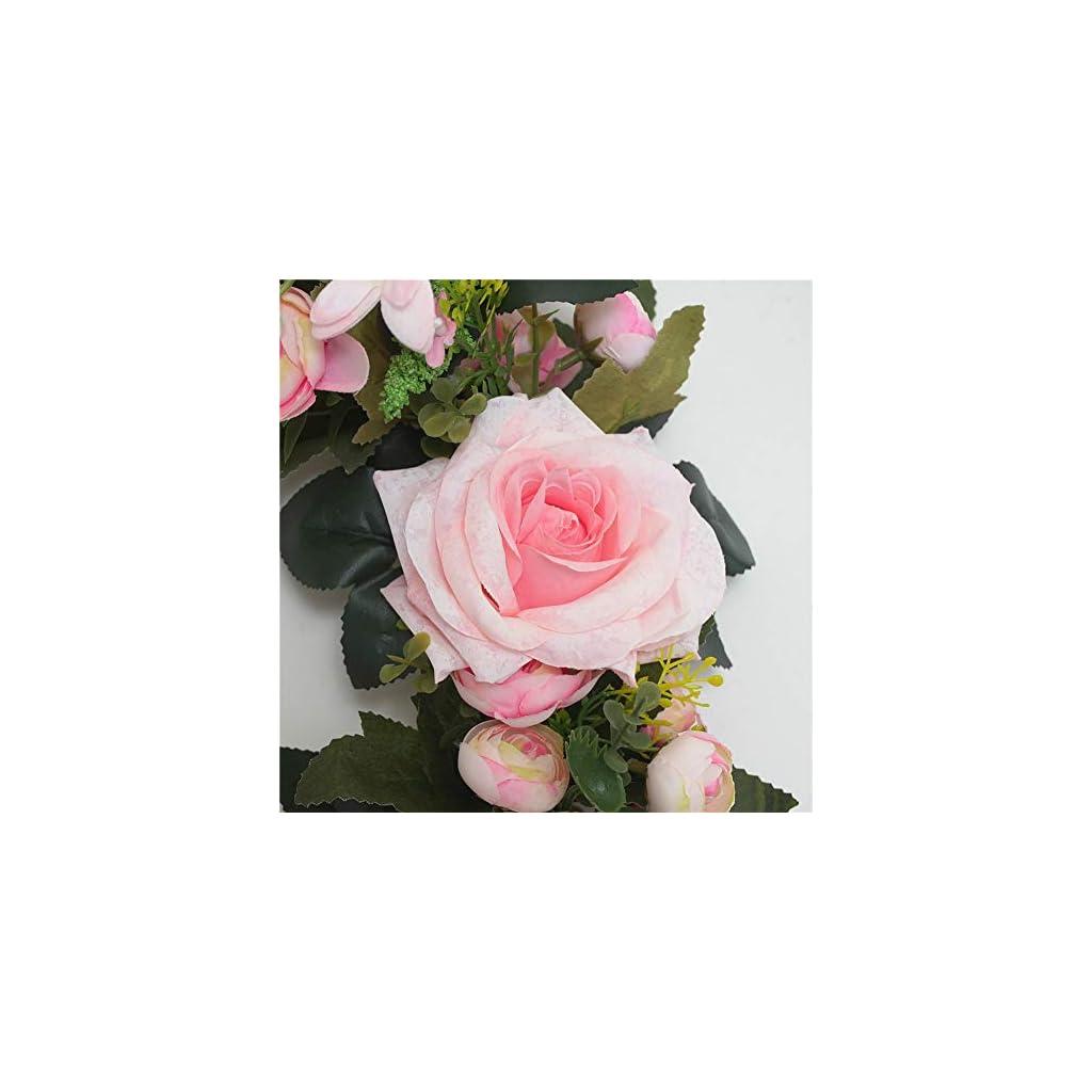 Oyov2L Artificial Rose Flower Wreath Door Threshold Decor Ornament Showcase Garland Wedding Photography Window Decoration Curly Edge Rose Garland