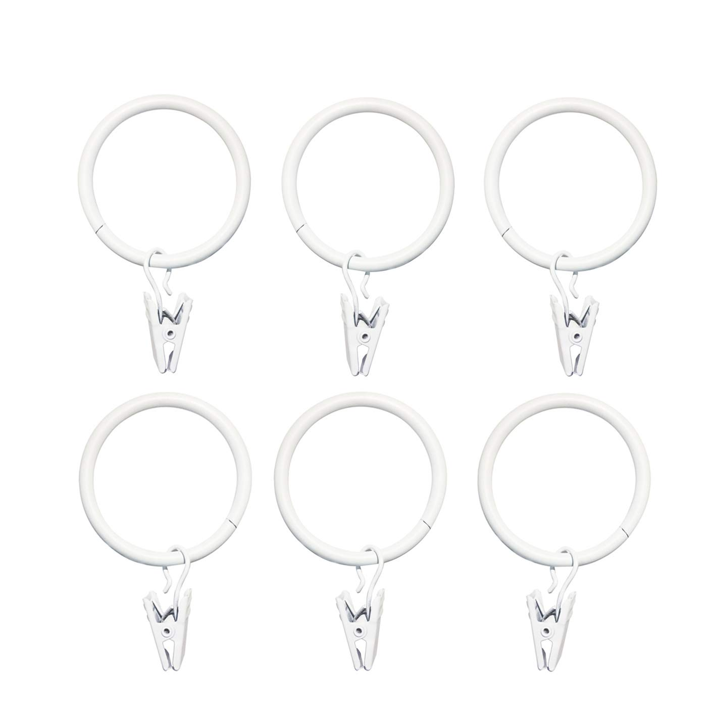 14 Pack,Premium Decorative Curtain Drapery Clip Rings Coated Iron Metal 1.5 Inch Diameter , White Wenmeili