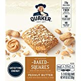 Quaker Baked Squares, Soft Baked Bars, Peanut Butter, 5 Bars (Pack of 8)