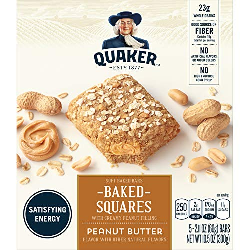 Quaker Breakfast Squares, Soft Baked Bars, Peanut Butter, 5 Bars (Pack of 4)
