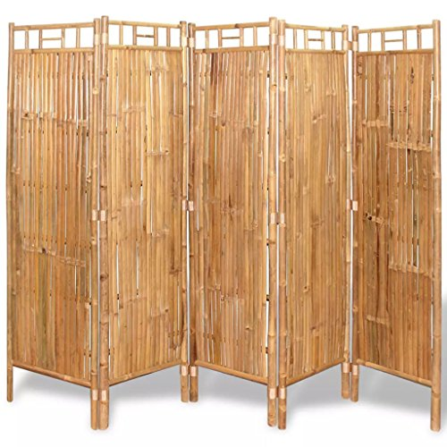 "Festnight 5 Panel Room Divider Bamboo Tall Wide Folding Room Divider Freestanding Room Dividers Partition Room Privacy Screens for Bedroom Living Room Home Furniture Decor 78.7"" x 63"" (W x H)"