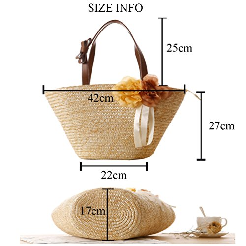 Tote Rose Bags Beach YOUJIA Shoulder Shoulder Straw Sea Women Handbag Summer Bag OPvpnA