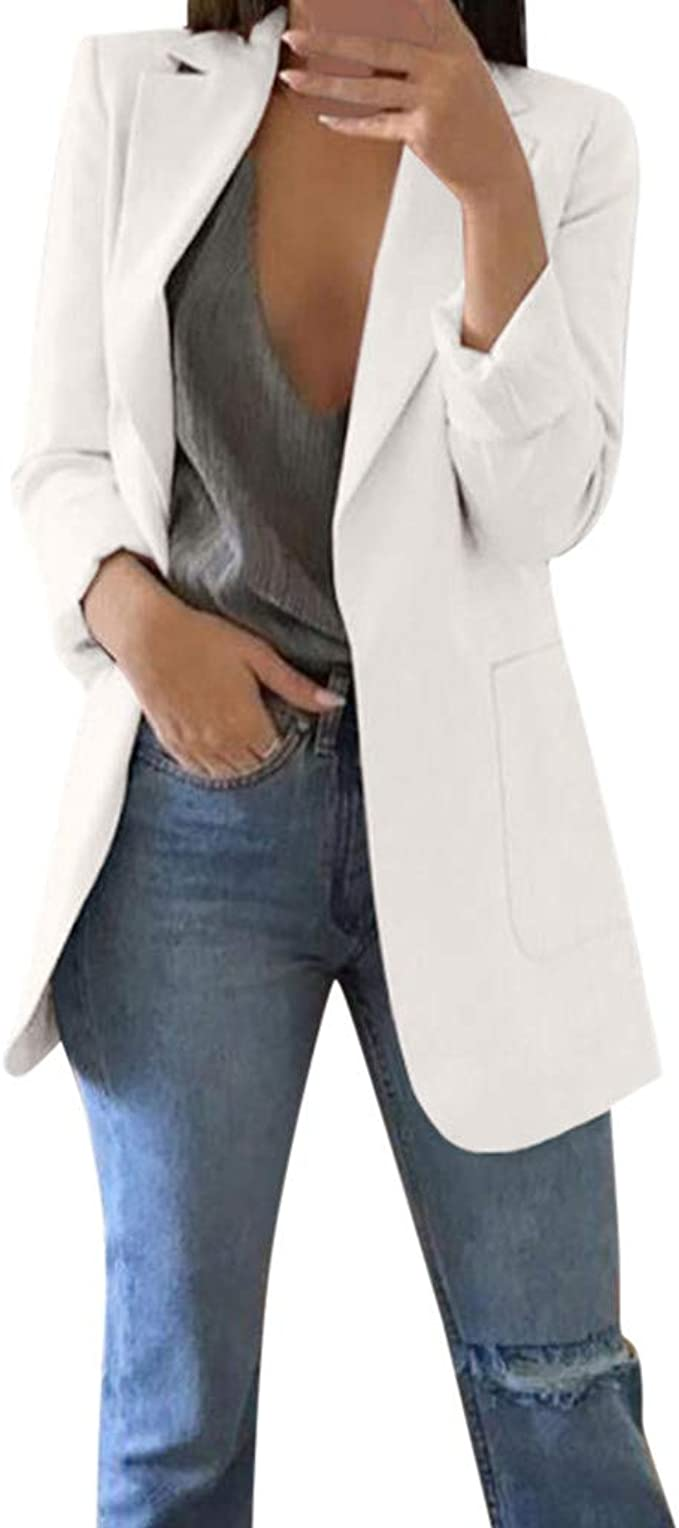 Donna Casual Cardigan Giacca Blazer Cappotto Giubbotto in Pelle Maniche Lunghe